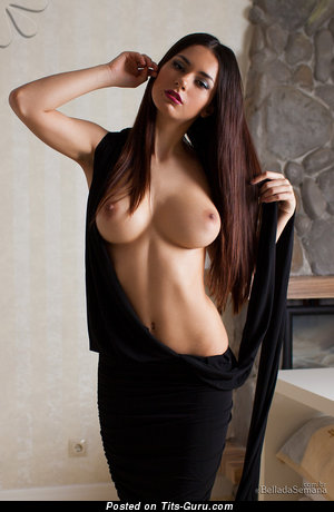 Helga Lovekaty - sexy topless brunette with big natural tittes and big nipples pic