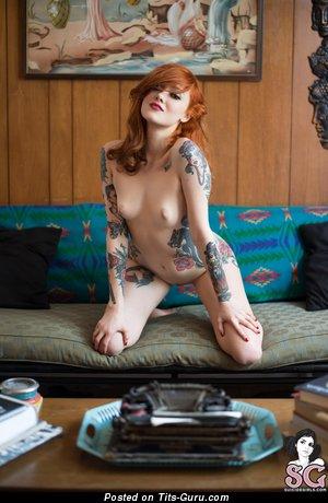 Изображение. Maud Suicidegirls - картинка шикарной голой рыжей с маленькие натуральными сисечками, тату