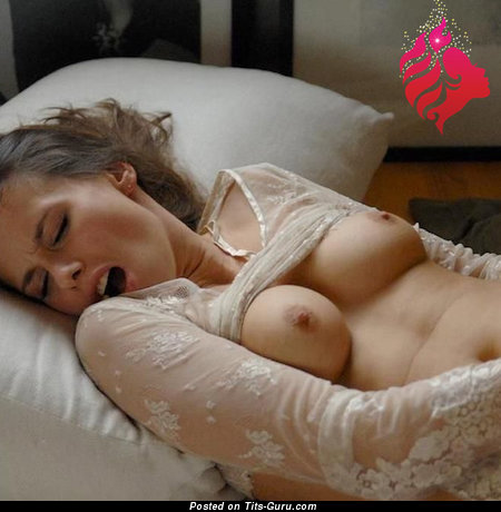 Grand Brunette with Grand Bald Real Firm Boobys is Getting Orgasm (Sexual Wallpaper)