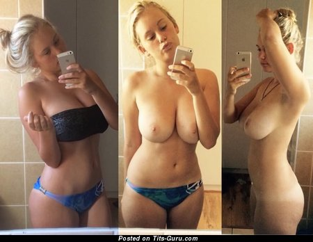 Lovely Topless Blonde with Beautiful Bald Real C Size Boob (Home Selfie Sex Photo)