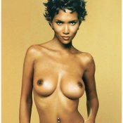 Ebony brunette with medium natural tittes photo