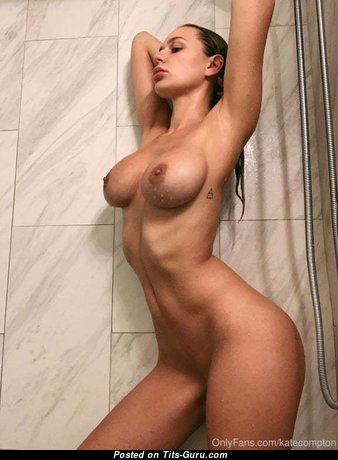 Kate Compton & Charming Glamour, Topless & Wet Blonde & Brunette Babe with Charming Defenseless Regular Boob, Huge Nipples, Sexy Legs & Tattoo in the Shower (18+ Pix)