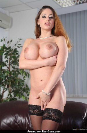 Cathy Heaven - Gorgeous Topless & Glamour Hungarian Red Hair Pornstar with Big Nipples in Stockings (Hd Porn Picture)