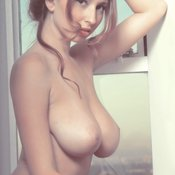 Sexy naked beautiful female with medium natural boob pic