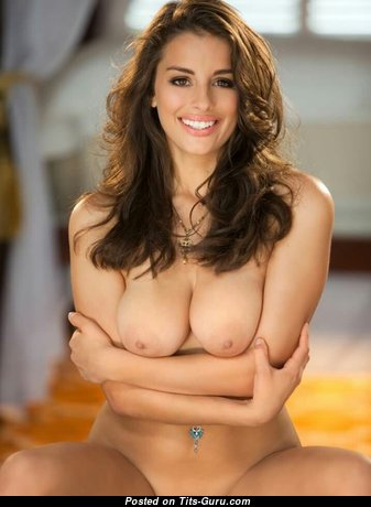 Dazzling Topless Brunette with Dazzling Bald Firm Hooters & Big Nipples (18+ Photoshoot)