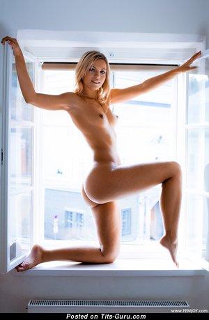Jenni Gregg - картинка офигенной блондинки топлесс с малюсенькими натуральными сиськами, большими сосками