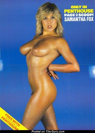 Изображение. Sam Fox - изображение горячей раздетой блондинки с среднего размера сисечками ретро