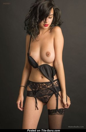 Cute Glamour & Topless Brunette with Huge Nipples is Undressing (Sexual Photo)