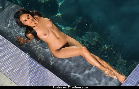 Elegant Ebony Brunette with Elegant Nude Natural Normal Tittes in the Pool (Hd Sexual Picture)