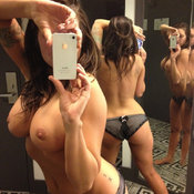 Brunette with big breast selfie