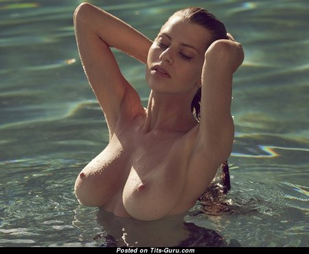 Brianna Stone - Appealing Topless, Glamour & Wet Red Hair Babe with Appealing Nude Soft Tit & Pointy Nipples in the Pool (18+ Pic)