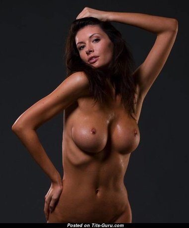 The Best Topless Brunette with Adorable Bald Medium Boobie (18+ Image)