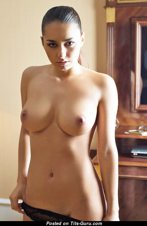 Helga Lovekaty - Stunning Topless Russian Brunette Babe with Stunning Naked Real Very Big Tots & Big Nipples (Xxx Pic)