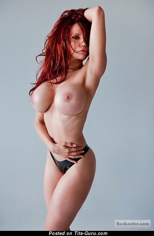 Image. Topless red hair with huge fake boobies picture