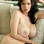 Brunette with huge natural boob image