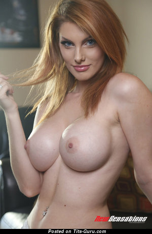 Alluring Red Hair with Alluring Bare Round Fake Tight Jugs (Xxx Photo)