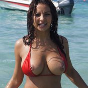 Wet nice female with big natural tittes pic