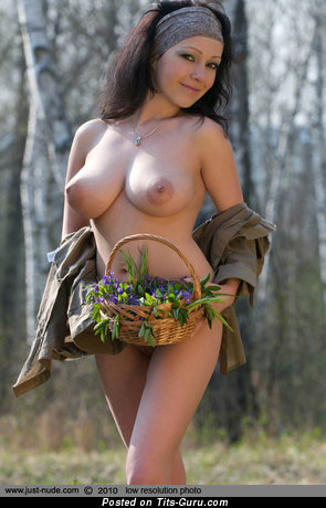 Topless brunette pic