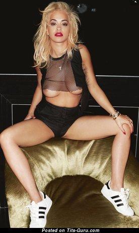 Rita Ora: wet topless amateur blonde with medium natural breast, piercing, tattoo & big nipples vintage selfie