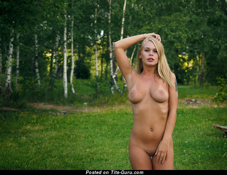 Image. Sexy naked blonde with medium natural boobies image