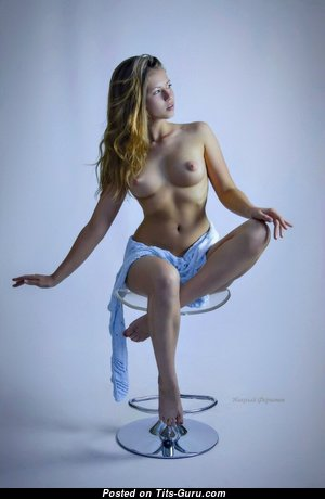Viktoria Aliko - Marvelous Topless Blonde Babe with Marvelous Naked Natural Regular Boobs & Sexy Legs (Xxx Photo)