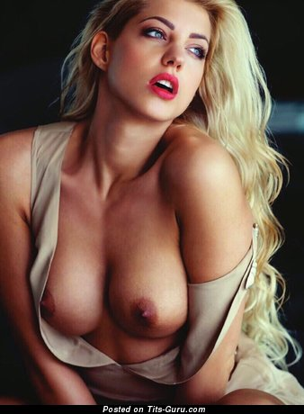 Image. Nude blonde with medium natural tots pic