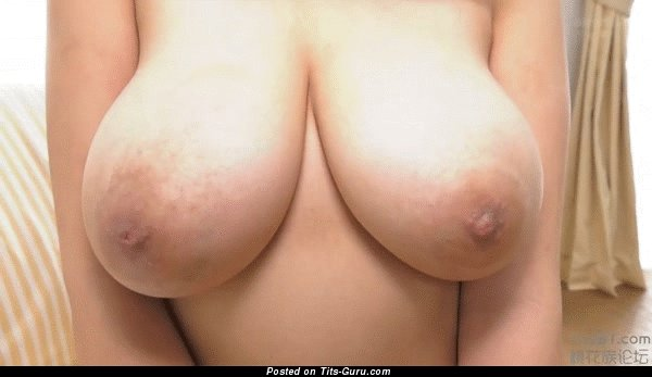 Nude asian brunette with big natural boobs gif