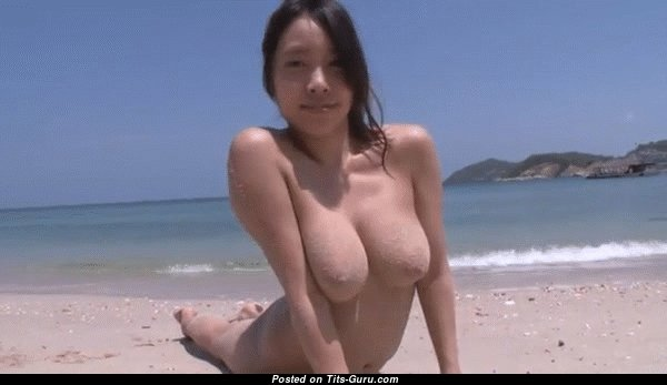 Sexy nude asian brunette with natural boob & big nipples gif