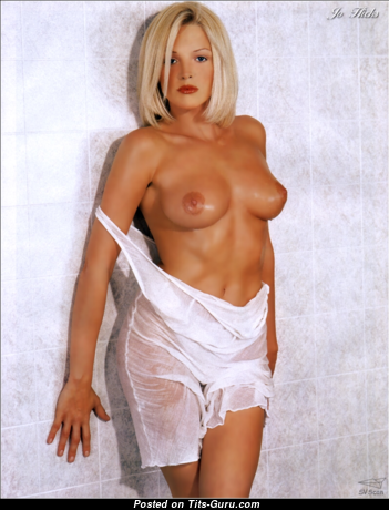 Jo Hicks - Stunning Topless English Blonde with Stunning Bald Natural Dd Size Knockers (Sex Photo)