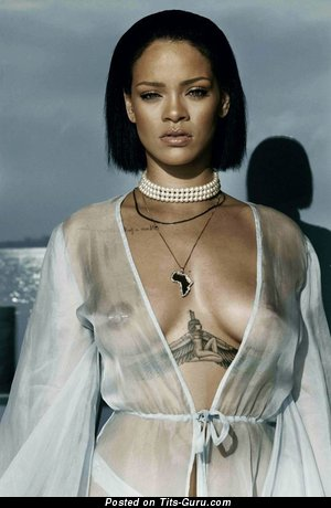 Rihanna - Beautiful Topless Ebony Actress, Babe & Singer with Beautiful Bare Real Med Busts (Sex Picture)