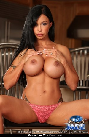 Jewels Jade - nude brunette with big fake tittys image