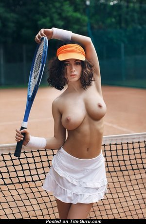 Nice Female with Nice Bald Natural Regular Tittes is Playing Tennis (Sexual Wallpaper)