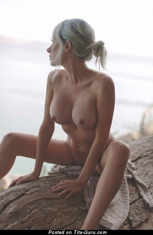 Nude blonde with medium fake boob picture