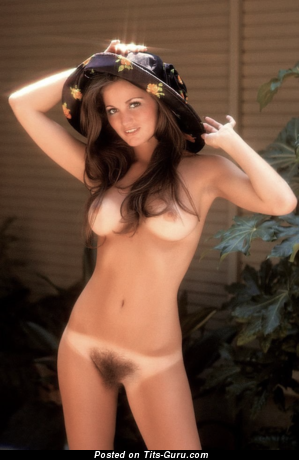 Pretty Brunette with Pretty Naked Natural Med Melons & Tan Lines (Vintage Hd Sex Picture)