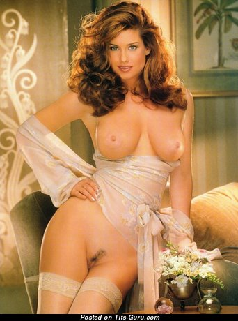 Carrie Stevens - Exquisite American Playboy Babe with Exquisite Defenseless Natural Dd Size Jugs in Stockings (Porn Wallpaper)