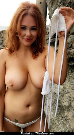 Appealing Topless Red Hair with Appealing Bald Natural Firm Boobie (Porn Picture)