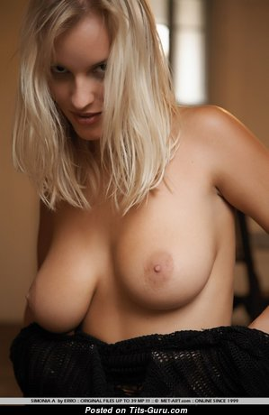 Simonia A - Perfect Topless Blonde Babe with Perfect Naked Natural Chest (Porn Photoshoot)
