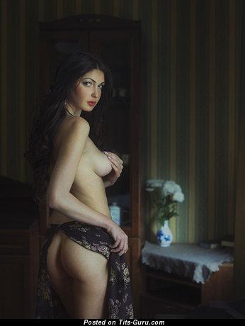 Nude nice female with medium natural breast image