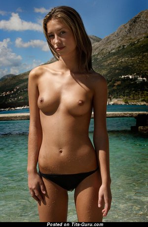 Adorable Topless & Wet Brunette Babe with Adorable Bare Real Narrow Balloons & Erect Nipples in Bikini on the Beach (Hd Porn Photoshoot)