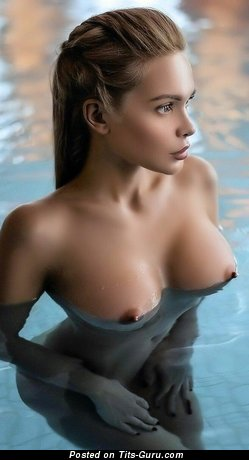 Sexy wet topless hot lady with medium tits pic