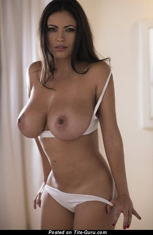 Fabiana Britto De Melo: topless latina brunette with medium natural breast & big nipples photo