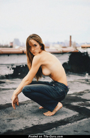 Image. Topless amateur awesome woman with medium natural tittes photo