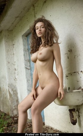 Image. Sexy nude brunette with medium natural breast photo