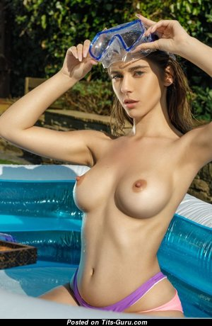 Awesome Topless Brunette Babe with Awesome Nude Natural Regular Jugs in the Pool (18+ Pix)