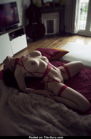 Adorable Glamour Brunette Babe with Adorable Bare Dd Size Boobys & Sexy Legs in Lingerie & Stockings is Smoking (Voyeur Porn Photo)