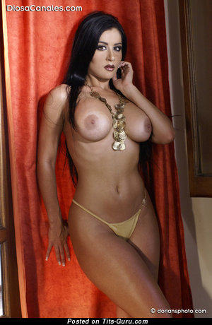 Diosa Canales - Delightful Topless Venezuelan Brunette Babe with Delightful Nude Dd Size Hooters & Large Nipples (Porn Image)
