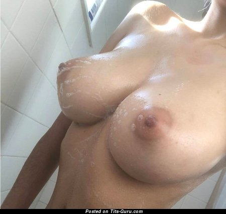 Yummy Wet Babe with Yummy Bare Real Average Breasts & Puffy Nipples (Home Porn Picture)