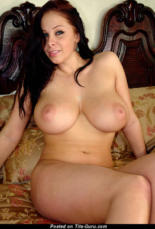 Image. Naked brunette with big natural boob pic