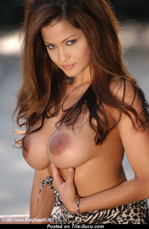 Alley Bagett - Hot Topless Brunette Babe with Hot Naked Natural Firm Tots & Erect Nipples in Lingerie (18+ Image)