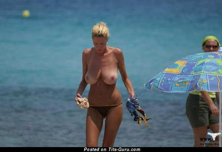 Image. Naked blonde with big natural breast pic